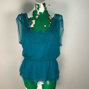 Diane Von Furstenberg Teal Top with Beads size 10